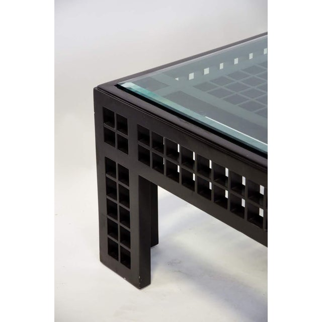 2000 - 2009 Contemporary Glass Inset Lattice Form Coffee Table For Sale - Image 5 of 11