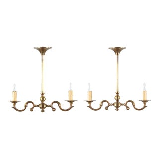 1940s French Neoclassical Brass Chandeliers - a Pair For Sale