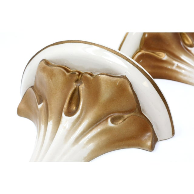 Boho Chic 1930's Gold Gilt Ceramic Sconces - a Pair For Sale - Image 3 of 11
