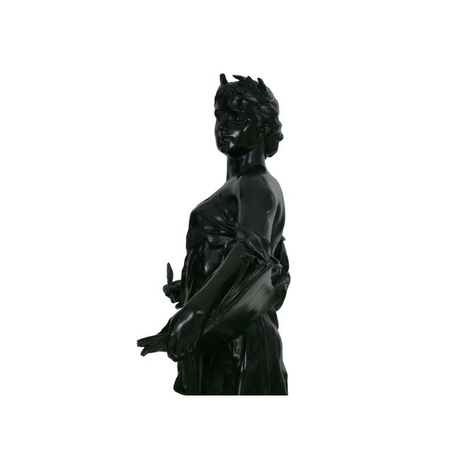 """Bronze Antique French Bronze Sculpture """"Science"""" by Edouard Drouot"""" For Sale - Image 7 of 13"""