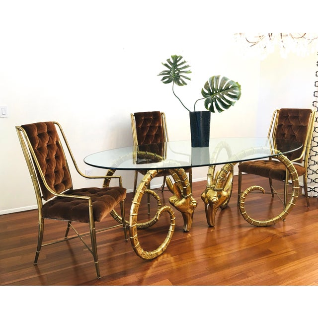 Vintage Brass Ram's Head / Gazelle Alain Chervet Style Hollywood Regency Dining Table For Sale - Image 4 of 13