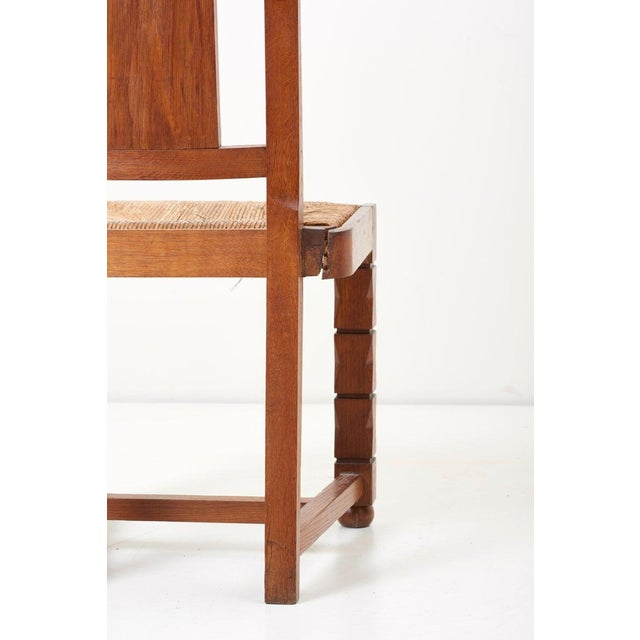 Brown Set of Six Wooden Chairs by Jacques Mottheau, France, 1930s For Sale - Image 8 of 13