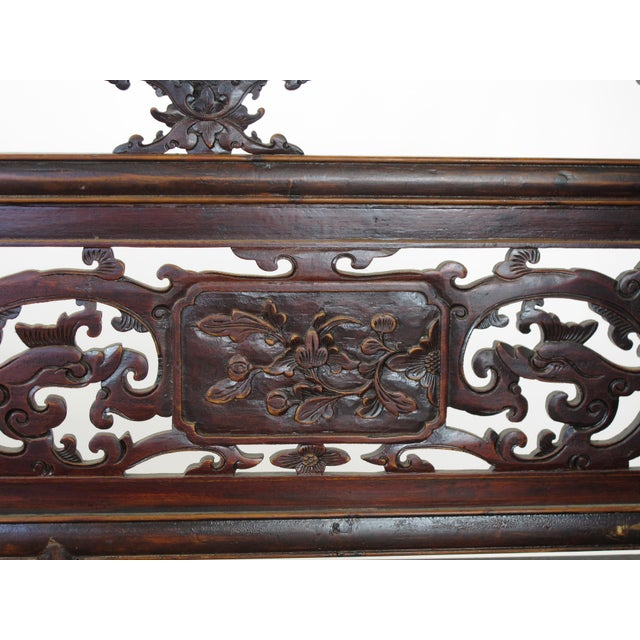 Elm 1900s Antique Chinese Daybed With Hand Carved Railing For Sale - Image 7 of 11