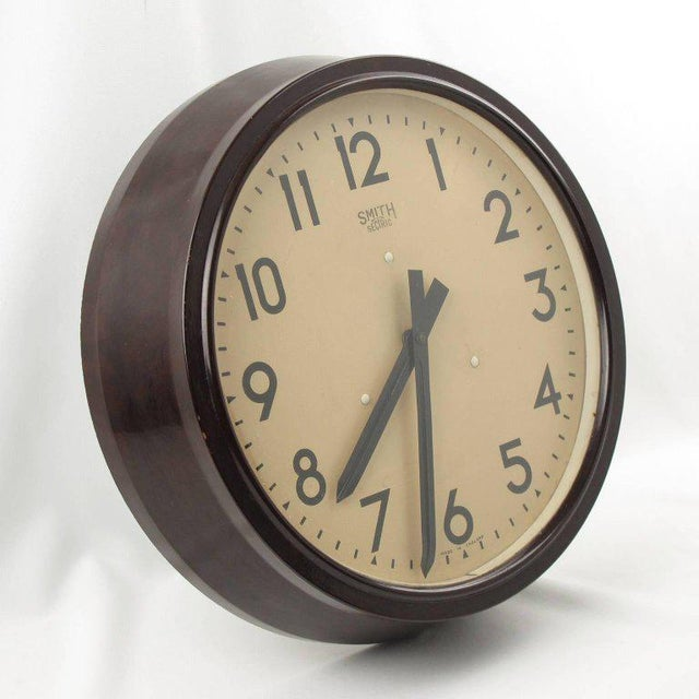 Smith Huge Industrial Factory English Art Deco Bakelite Wall Clock For Sale - Image 4 of 10