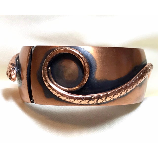 Whiting & Davis Whiting & Davis Mid-Century Copper Snake Hinged Bangle For Sale - Image 4 of 7