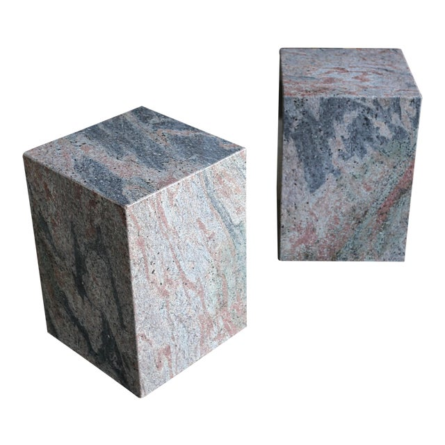 1980s Granite Stone Occasional Tables - a Pair For Sale