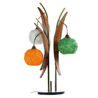 Orange Green and White Spaghetti Lucite and Walnut Table Lamp For Sale
