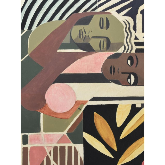 """Original Art Deco painting by Mike Willcox. 36""""x48"""" Acrylic on Canvas. 2"""" depth to the canvas with the sides painted."""
