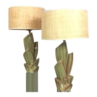 Vintage Cactus Lamps With Woven Grass Lamp Shades - Set of 2