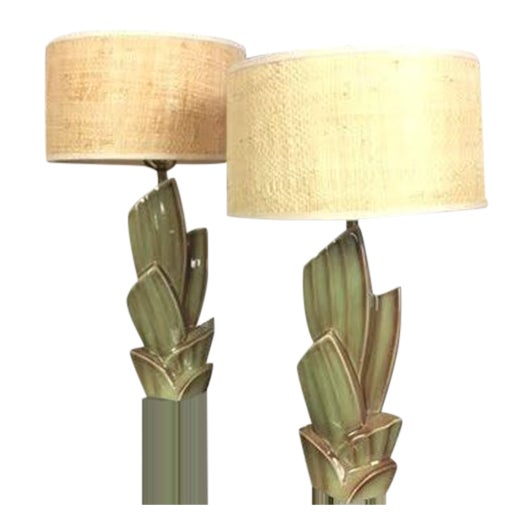 Vintage Cactus Lamps With Woven Grass Lamp Shades - Set of 2 For Sale