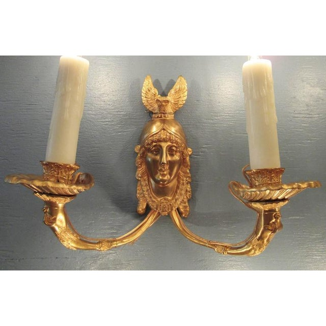 19th Century French Bronze Dore Athena with Owl Sconces For Sale - Image 9 of 9