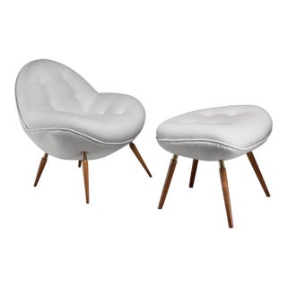 Fritz Neth 'Schalensessel' Lounge Chair With Hocker, Germany For Sale