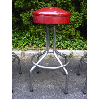 Mid-Century Deep Red Vinyl and Chrome Bar Stools - Set of 4 Preview