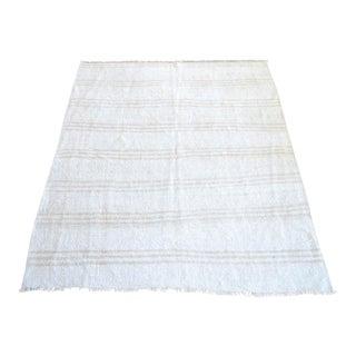 Vintage Handmade Hemp Rug Natural Stripe Turkish Sisal Kilim Rug - 4′4″ × 5′5″ For Sale