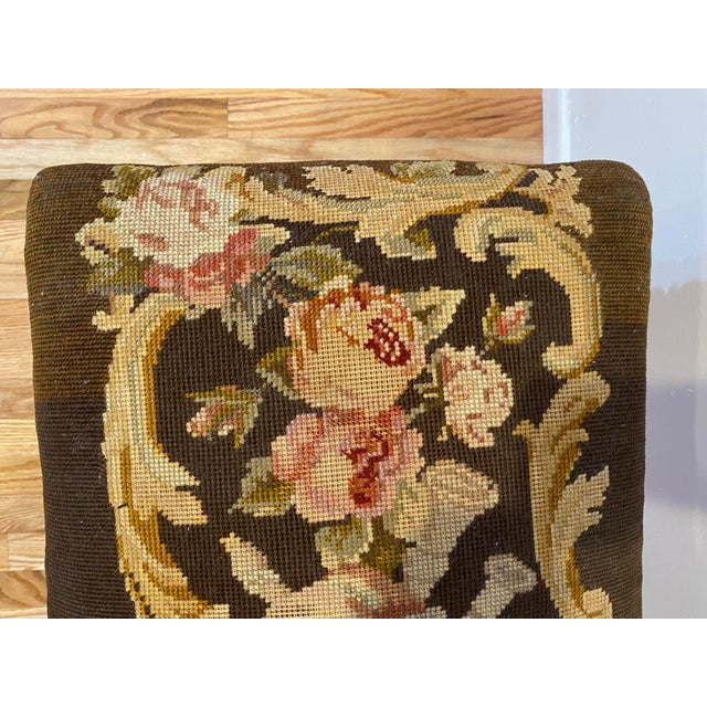 Vintage Needle Point Drum and Flower Design Bench For Sale - Image 9 of 10