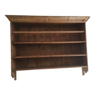 Antique English Pine Wooden Plate Rack, Circa 1840's For Sale