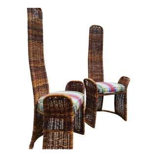 Pr Wicker Arm Chairs For Sale