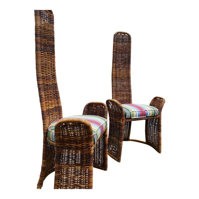 Wicker Arm Chairs - a Pair For Sale
