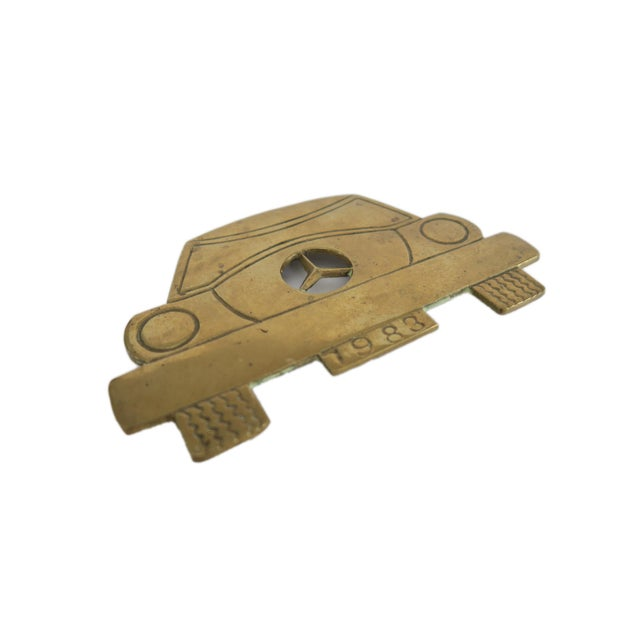 Vintage 1983 Mercedes Benz Car Solid Brass Iron Rest Hot Plate Pad Trivet Stand - Image 3 of 4