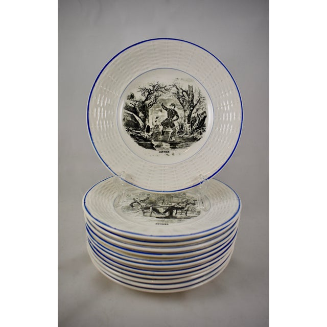 Digoin Sarreguemines French Transferware 'Mois De L'année' Plates, S/12 For Sale - Image 11 of 11