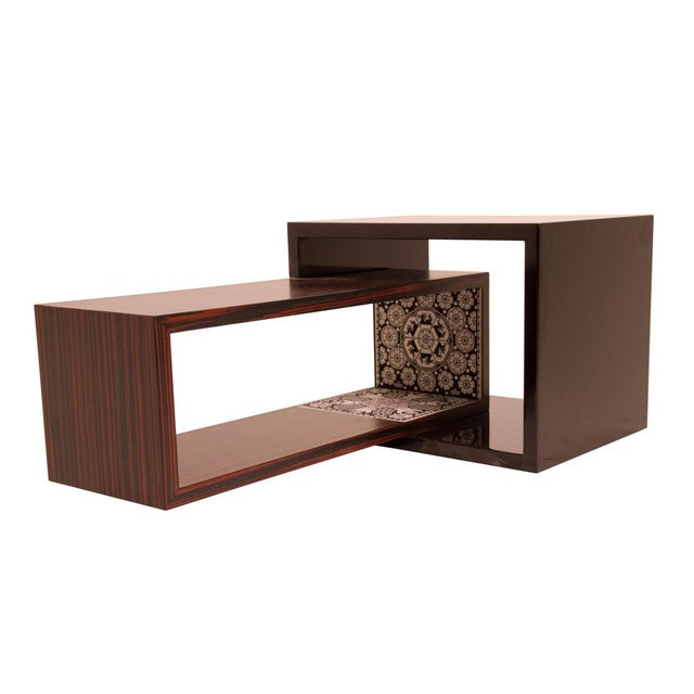 2010s Contemporary rosewood and bead coffee table by Alire De Alvarez For Sale - Image 5 of 6
