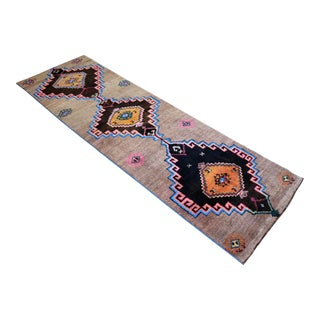 Hand Knotted Natural Colors Full Tribal Design Runner Rug Wide Runner - 3′6″ X 11′4″ For Sale