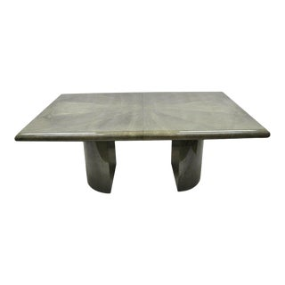 Karl Springer Style Green Lacquered Dining Table With 2 Leaves For Sale