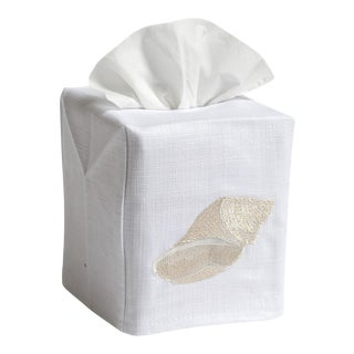 Beige Conch Tissue Box Cover in White Linen & Cotton, Embroidered For Sale
