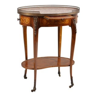 Antique Marble-Top Oval Side Table