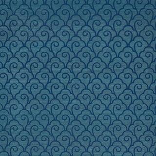 Sample - Schumacher Scallop Filigree Sisal Wallpaper in Lapis on Peacock For Sale