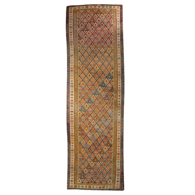 "Early 20th Century Persian Qazvin Kilim Carpet Runner - 4.2"" x 13.6"" For Sale"