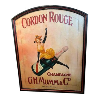 Vintage 'Cordon Rouge' Champagne Wooden Poster Board For Sale