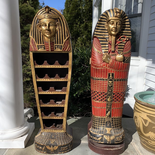 Egyptian Sarcophagus Wood Dry Bar and Storage Cabinet For Sale - Image 13 of 13