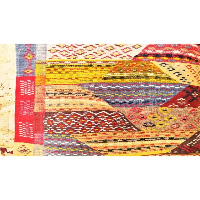 """Moroccan Zanafi Tribe Berber Wool Kilim Area Rug 76.5"""" x 42"""" - Image 6 of 7"""