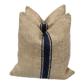 1940s French Blue Stripe Grain Sack Pillows - a Pair For Sale