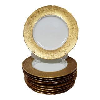 Antique 22k Gold Embossed Dinner Plates - Set of 11 For Sale