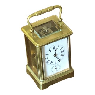 Antique Bronze Table Clock With Alarm For Sale