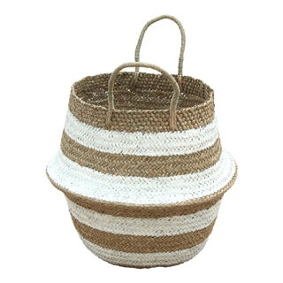 Brunna Stripes Tribes Straw Basket Bag, in White - Handmade in Bali For Sale