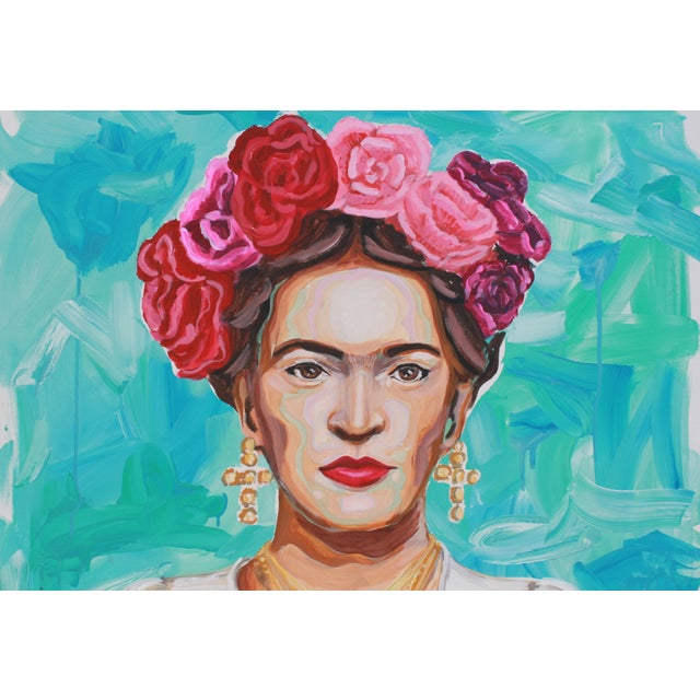 Contemporary Frida in White Original Large Painting For Sale - Image 3 of 6
