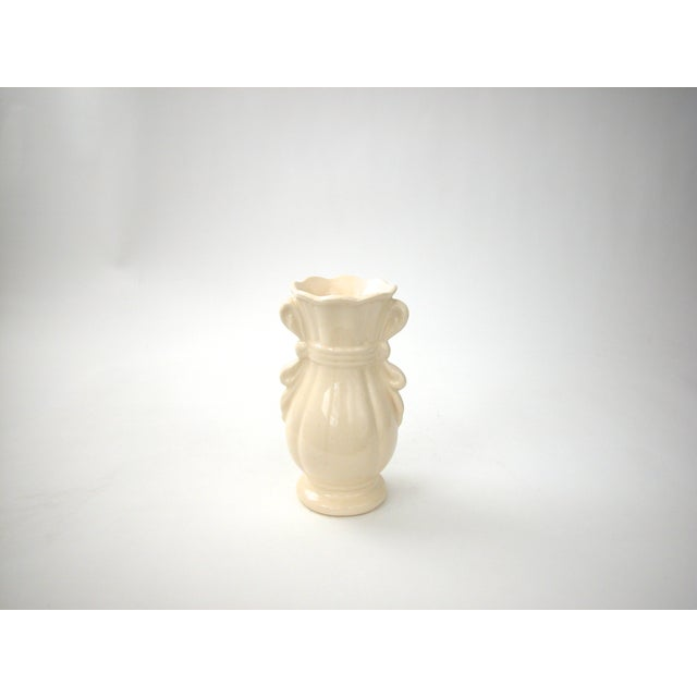 White Cream Vase With Ribbon Handles For Sale - Image 8 of 9