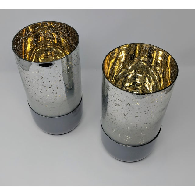 Mercury Glass Candle Holders - a Pair (2) For Sale - Image 4 of 11