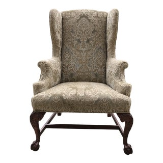 Early 20th Century Chippendale Style American Eagle Carved Leg Claw & Ball Foot Wingback Chair For Sale