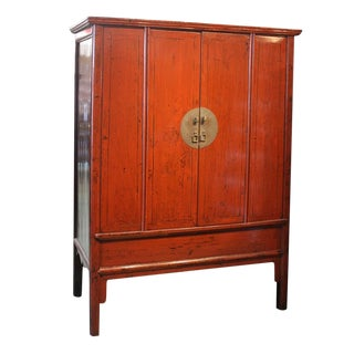 19th Century Asian Antique Red Lacquer Wedding Cabinet For Sale