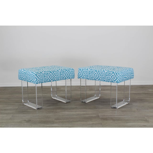 Acrylic Waterfall Benches- a Pair For Sale - Image 12 of 12
