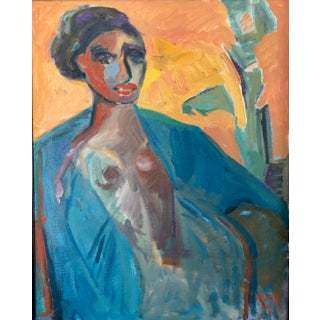 Anne Darby Parker Lady in Blue Contemporary Painting For Sale