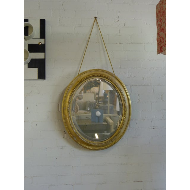 Early 20th Century Distressed Gilt Oval Antiqued Mirror Hung by Rope For Sale - Image 5 of 11