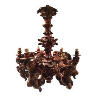 Vintage Art Nouveau Style Six Arm Wood Chandelier For Sale