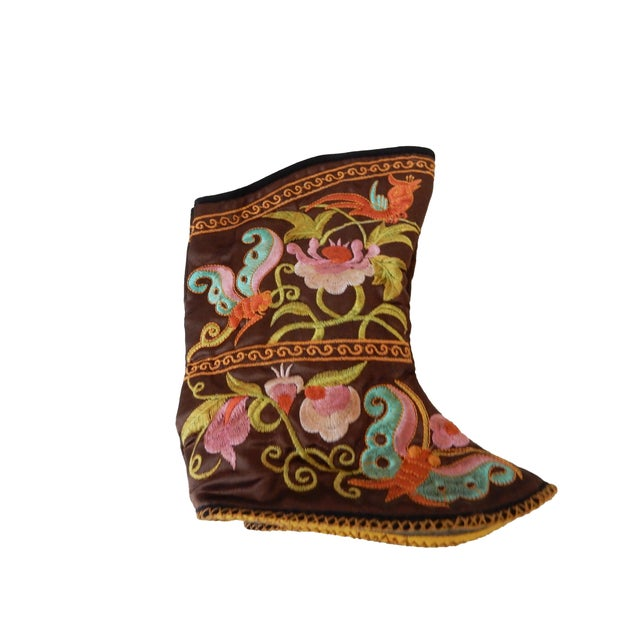 Superb and cute Chinese Embroidered Baby Boots decorated with vibrant colors with peonies flowers for good luck and...