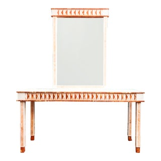 1990s Neoclassical Maitland Smith Tessellated Marble Console Table and Wall Mirror Set - 2 Pieces For Sale