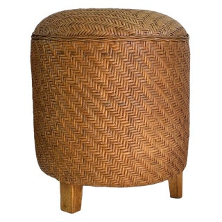 Vintage Woven Fine Herringbone Weave Cane Ottoman Stool